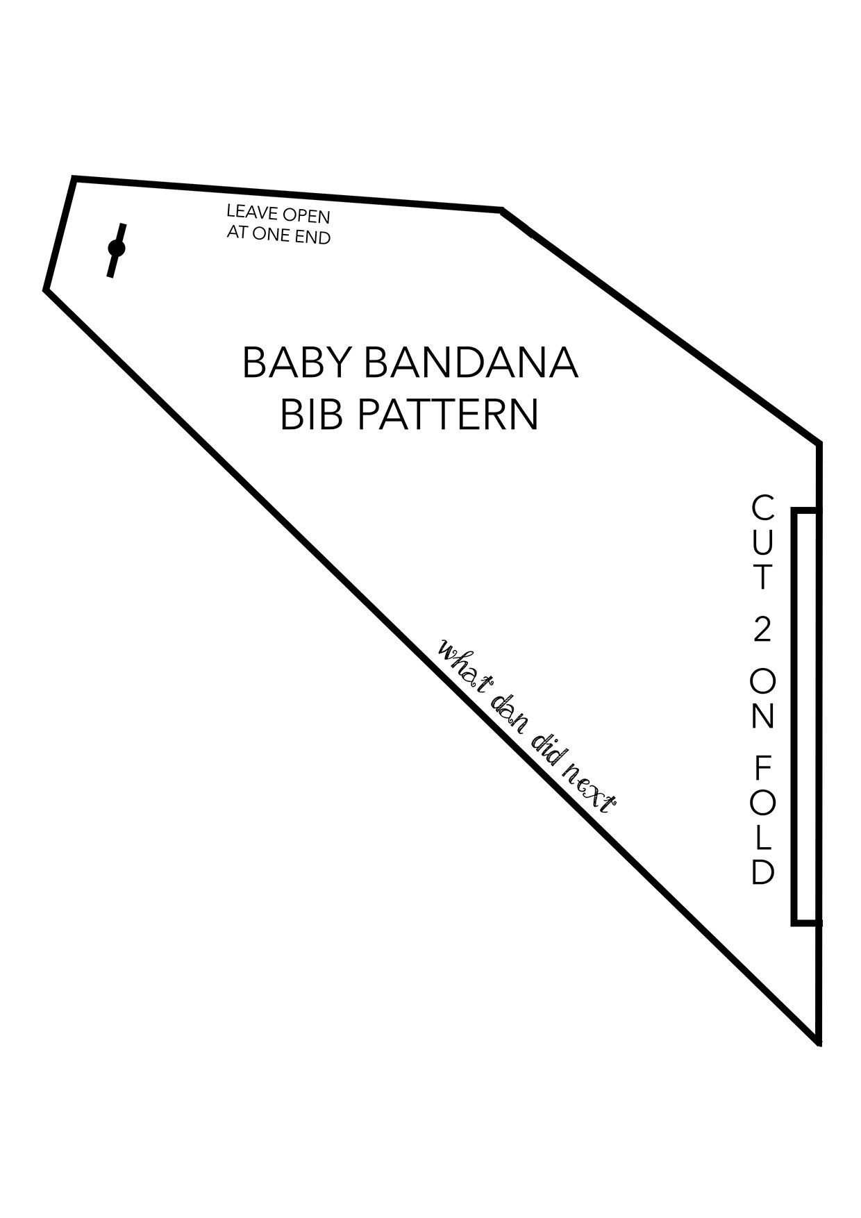 free bandana bib pdf pattern template by what dan did next oh baby