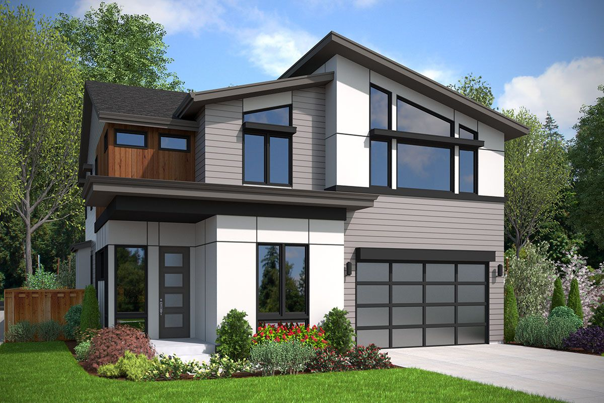 Plan 23864jd 4 Bed Modern Home Plan With Outdoor Living Room In 2020 Modern House Plans Modern House House Plans