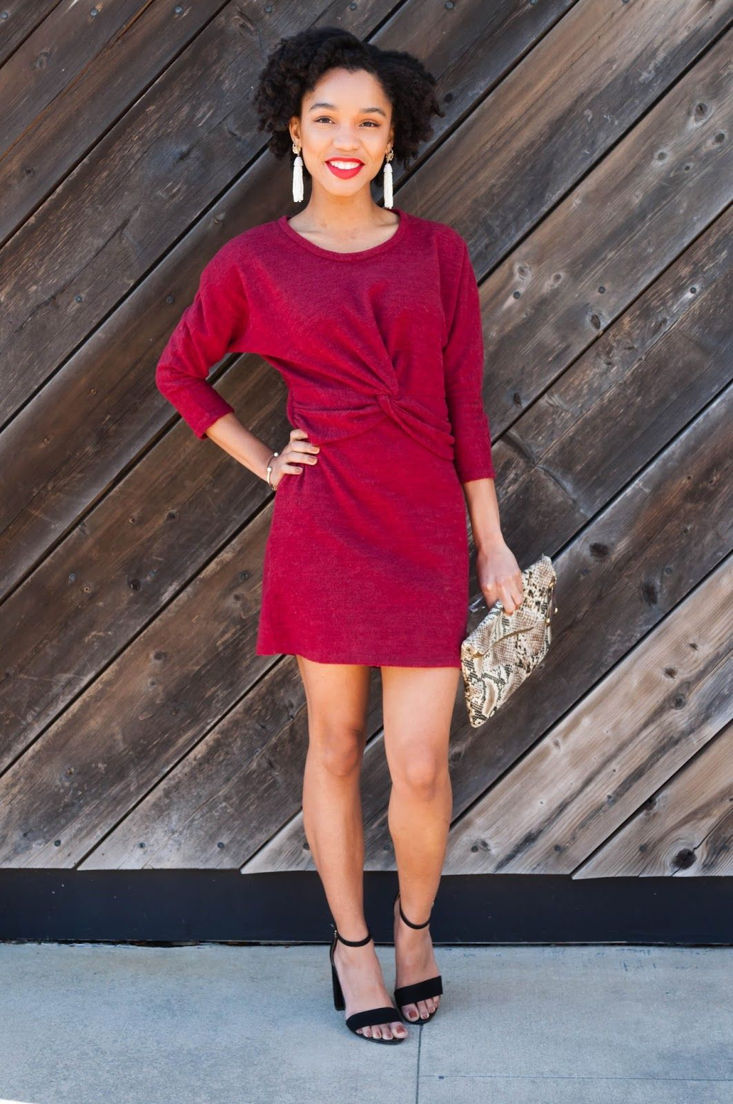 f4d018ddc4d3 Bright wine red knot tie front sweater dress