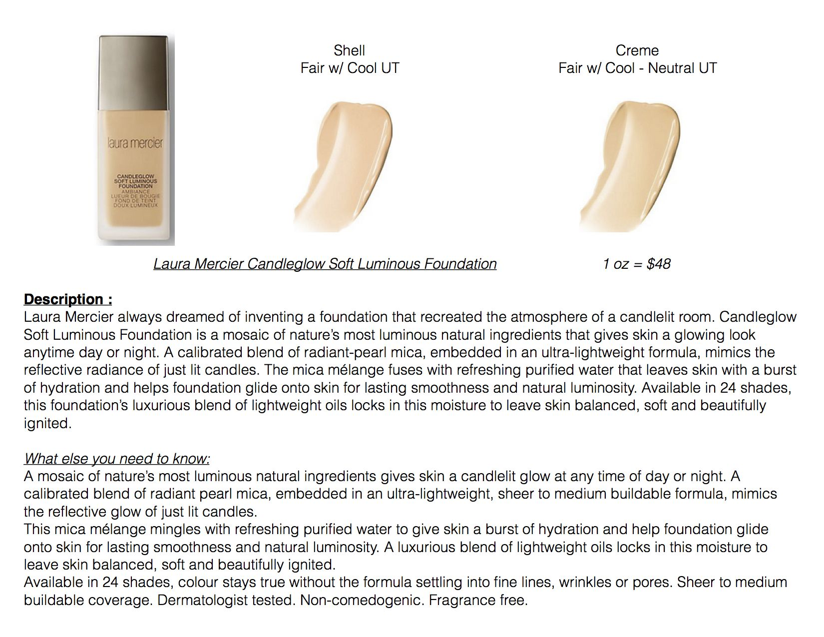 Laura Mercier Candleglow Soft Luminous Foundation (Shown Are Shades For