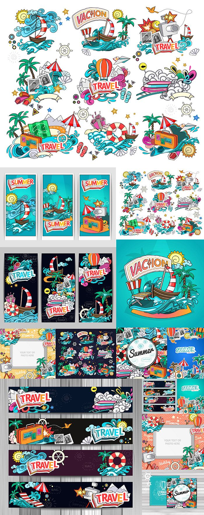 Блог Колибри: Summer vacation, frames and backgrounds vector