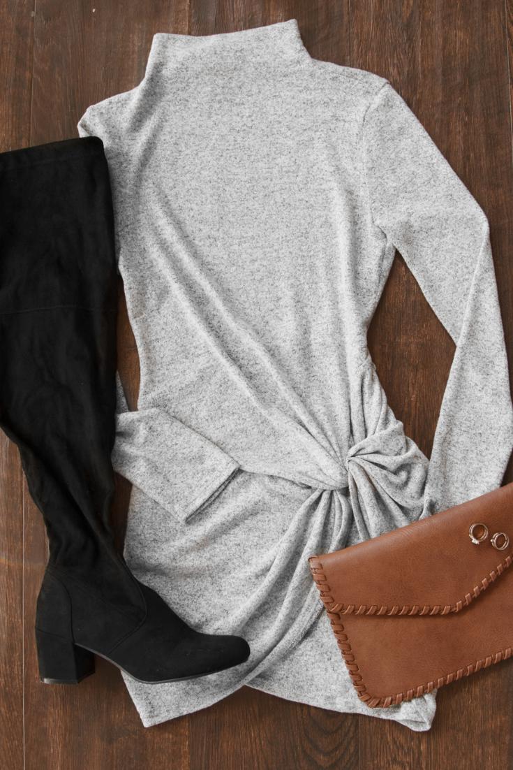 Knot So Fast Heather Grey Twist Sweater Knit Mini Dress