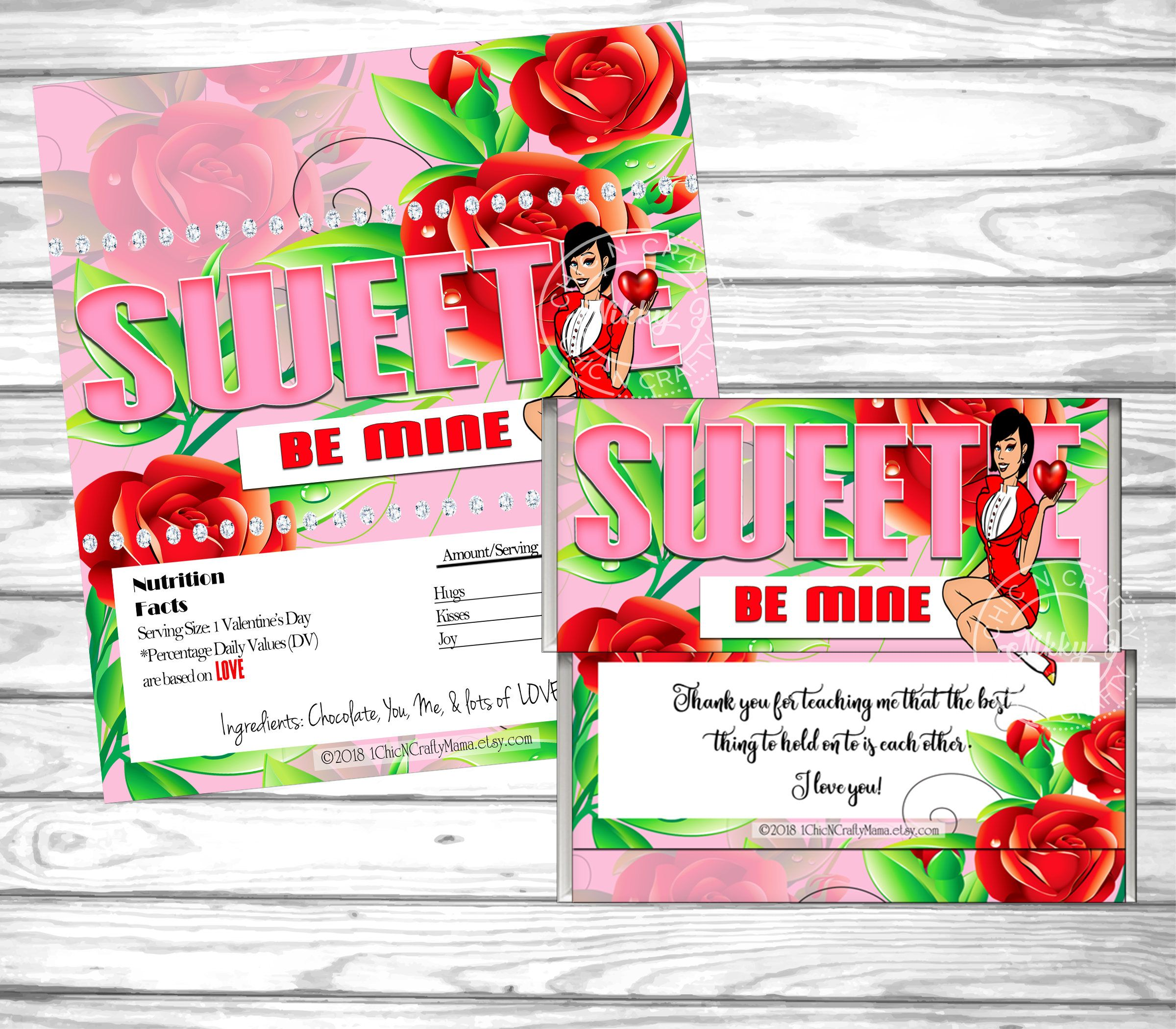 Valentine\'s Day, Pin Up Woman,Valentine\'s Favor, DIY Printable,Candy ...