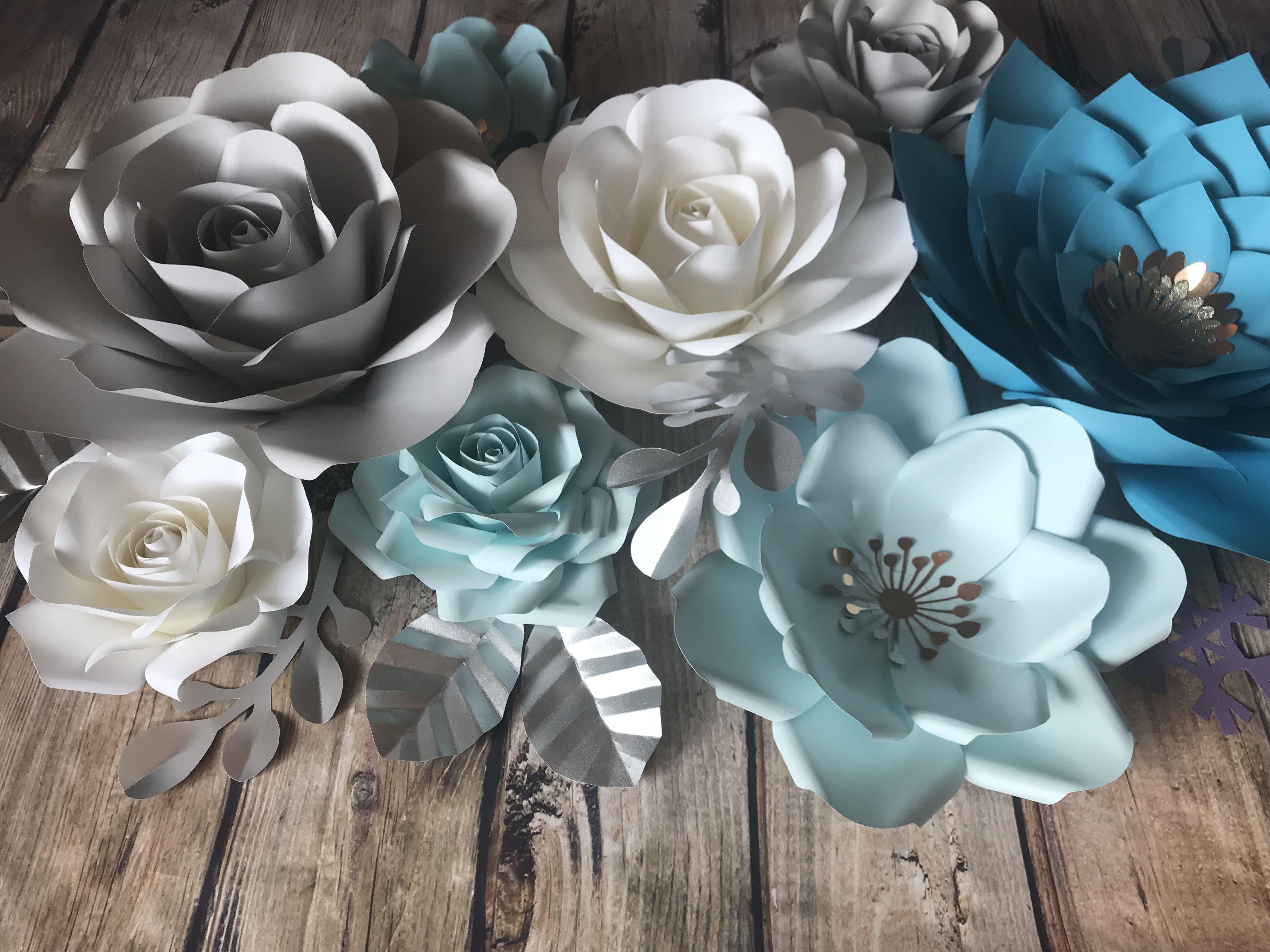 Frozen inspired paper flower backdrop paper flower