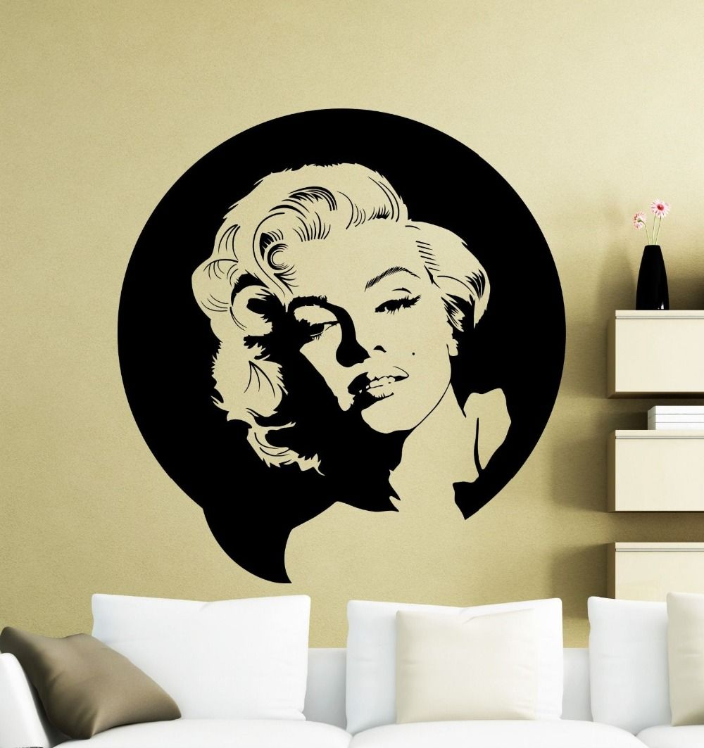Vintage Wall Sticker Marilyn Monroe Wall Decal Vinyl Music Singer ...