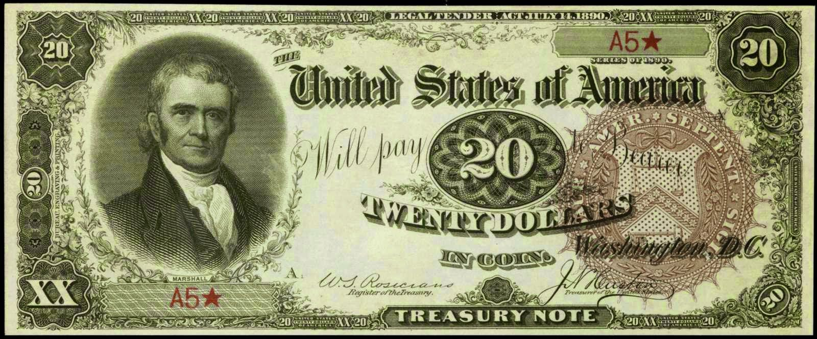 1890 Twenty Dollar Treasury Or Coin Note World Banknotes Coins Old Money Currency Notes World Paper Money Paper Currency Money Notes Dollar