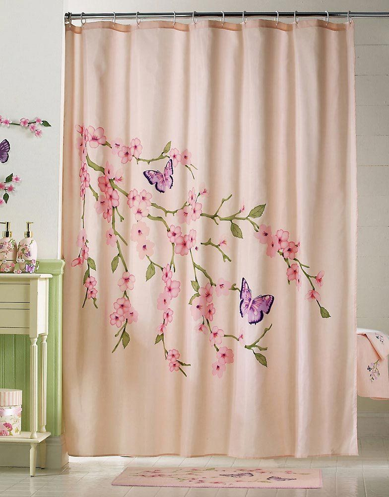 Cherry Blossom Butterflies Pink Shower Curtain By Collections