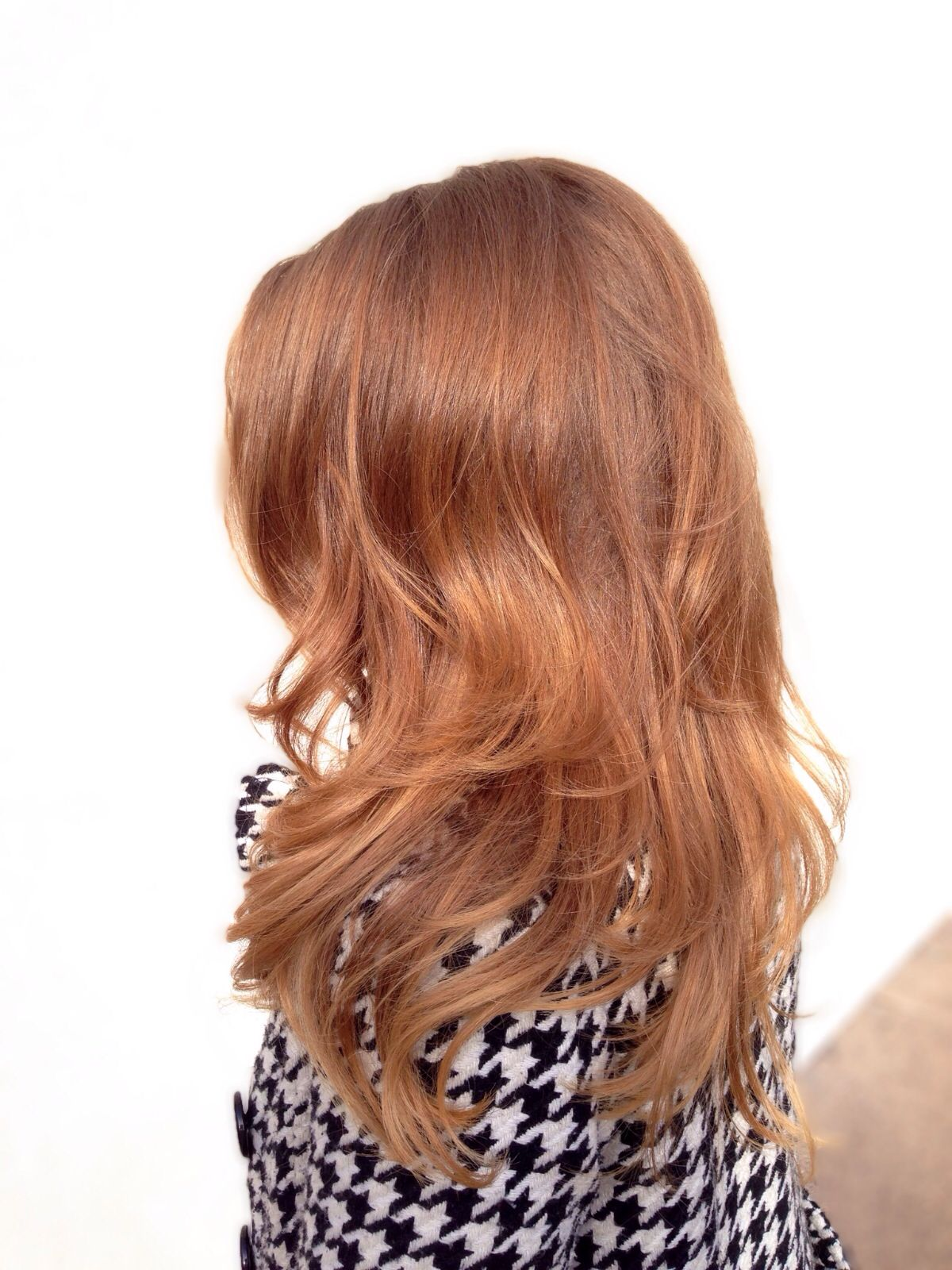 Long rose gold red hair with layers and balayage