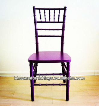 "Ooooooh! Purple! Wooden chiavari chairs. Non folding, non stacking. Purple, Black, White, Gold, Silver, other colors. Pricing: ""Get Latest Price.""  200 piece min order. Linqu Blossom Wood Products Factory, Shandong China. alibaba.com"