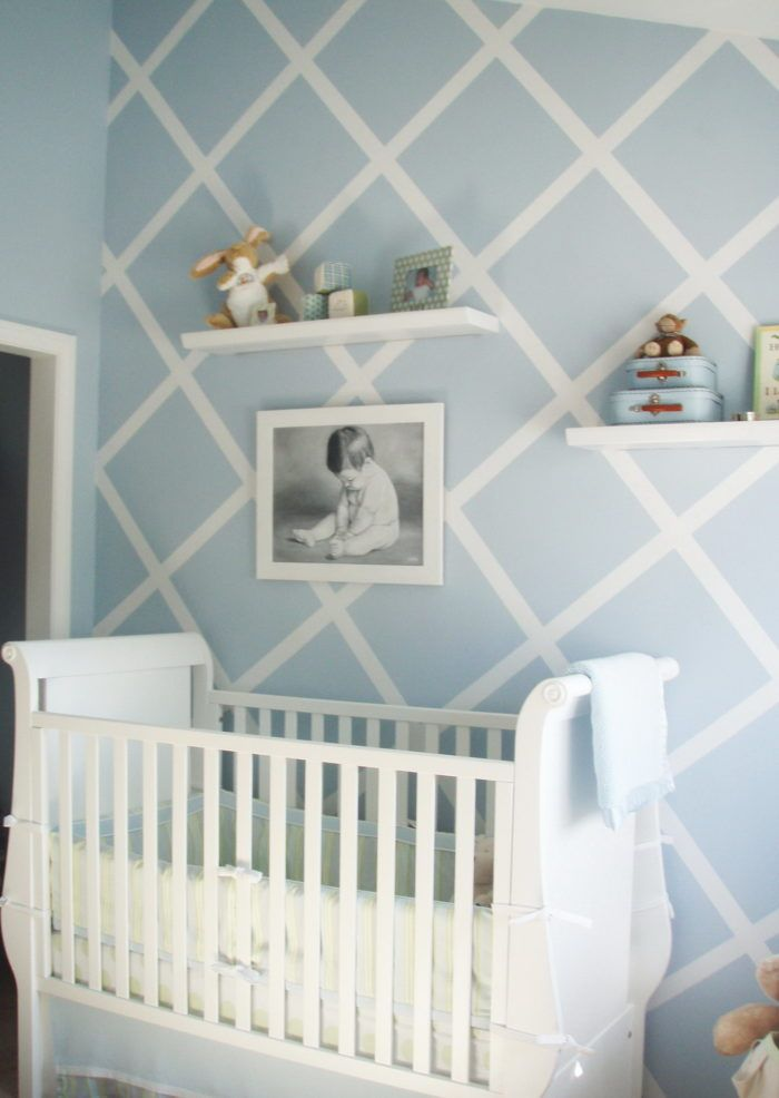 Boy Baby Nursery Room With Soft Blue Wallpaper And White Diagonal Striped Plus White Crib And Small Wall Baby Room Decor Baby Boy Rooms Nursery Inspiration Boy