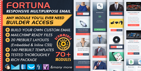 Ecommerce Email Builder FORTUNA Multipurpose Business Email - Mailchimp ecommerce templates