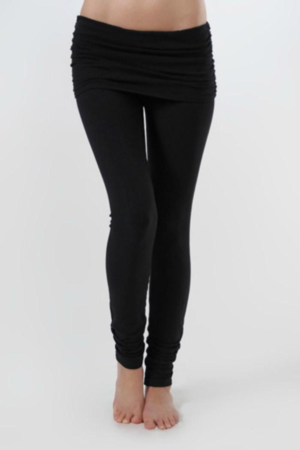 c0d321d7911b0 Leggings with gathered fold over waist. Gentle cycle or hand wash, low heat  or lay flat to dry. Flared leg. Measures: 30