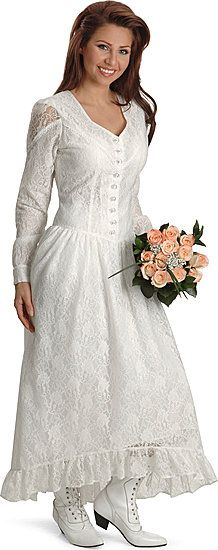This is an adorable, modest wedding dress, and it does not necessarily have to be western-themed.