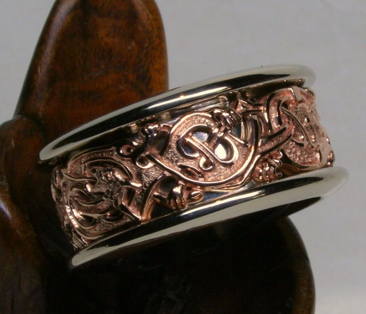 Asatru Marriage Viking Gripping Beast Band In 14k Palladium White And Red Golds