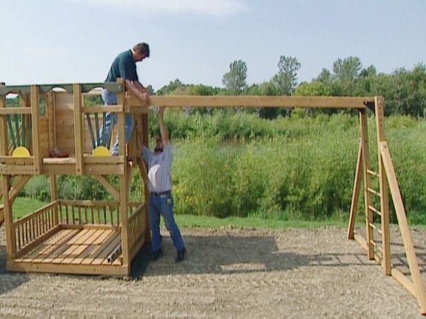 How to Build a Swing Frame and Tower for a Playground ...