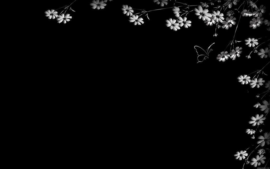 Black Flowers Butterfly Desktop Wallpaper Desktop Wallpaper Black Black Background Wallpaper Black And White Flowers