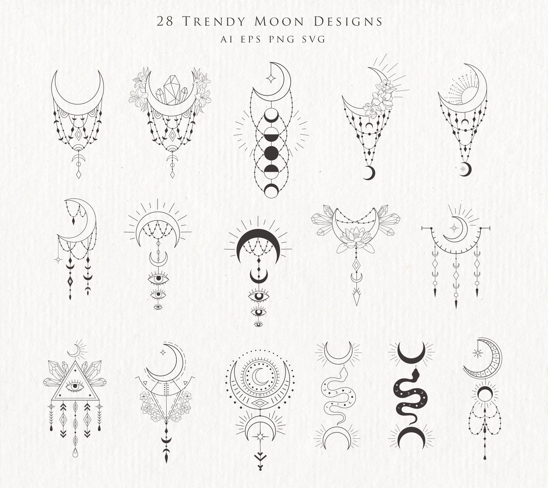 Moon Clipart Crystal Phases Botanical Floral Crescent Lunar Flowers Magic Print Spiritual Witch Tattoo Logo Astrology Yoga Cosmic PNG SVG