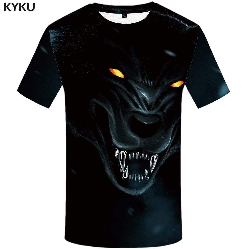 Photo of KYKU Wolf T shirt Men Animal Tshirts Print Funny Tshirt Anime Harajuku T-shirt 3d T shirts Funny Mens Fashion Short Sleeve – S
