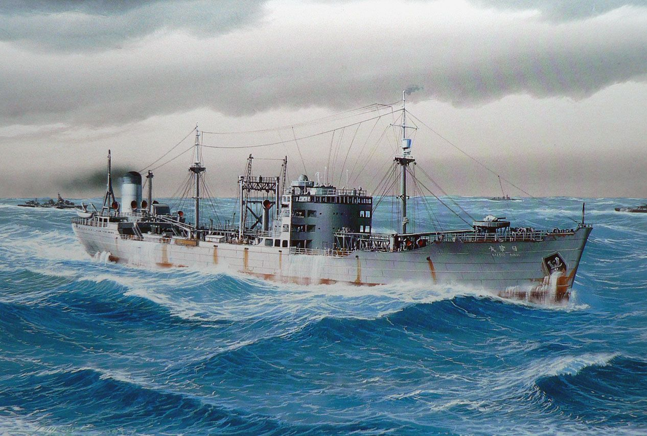 Japanese oil tanker Nissho Maru 1938, sunk by American submarine USS Hoe of Davao, Philippines 1942