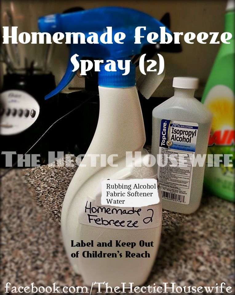 Homemade Febreeze Spray Rubbing Alcohol Fabric Softener Water