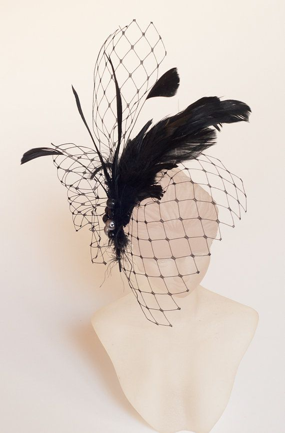 Black Birdcage Veil FASCINATOR with Feathers. Cocktail Fascinator