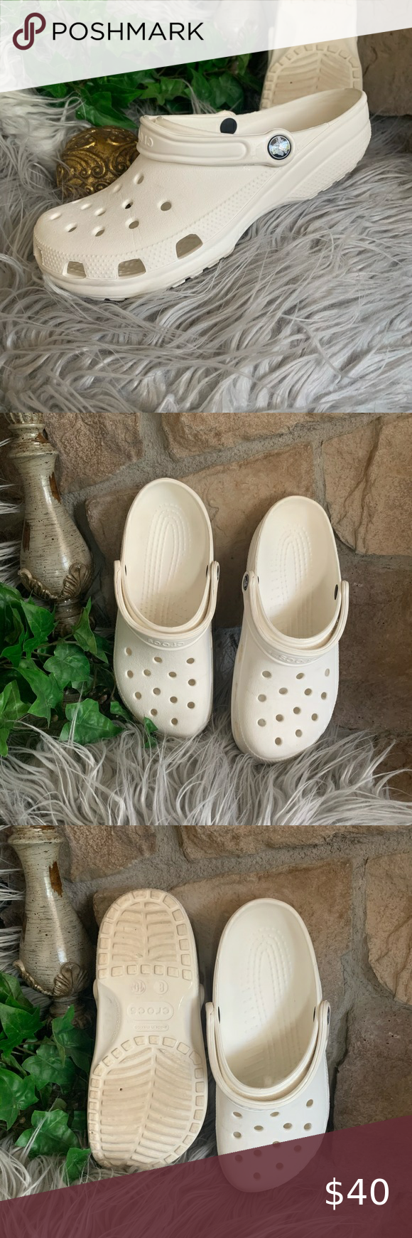 Crocs In White Women S 10 Or Men S 8 Clean White Crocs In The Traditional Style Easy To Clean No Toe Or Foot Print Wear On Inte In 2020 Crocs White Women Cleaning