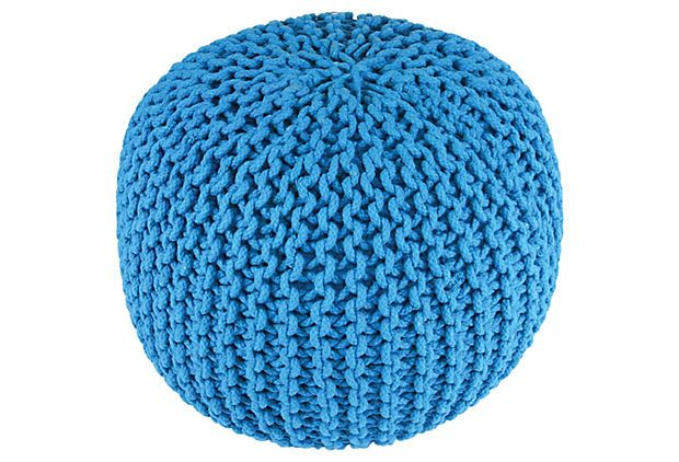 Issey Knitted Pouf Turquoise On OneKingsLane Decoracion Gorgeous Turquoise Knitted Pouf
