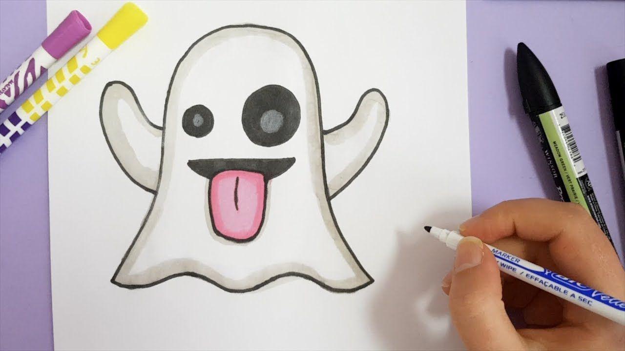 How To Draw Ghost Emoji Snapchat Youtube Drawings Emoji Draw