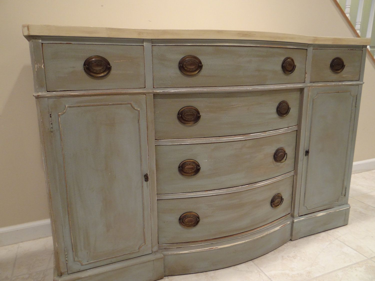 Painting furniture shabby chic - Two Tone Shabby Chic Drexel Buffet Dresser