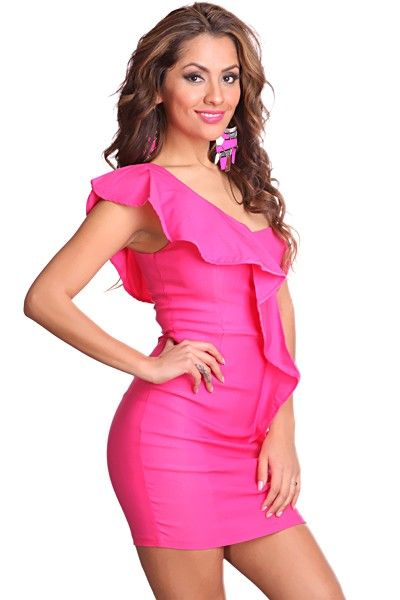 6d73c260f02d Fuchsia One Shoulder Strap Fitted Waist Ruffled Decor Sexy Dress ...