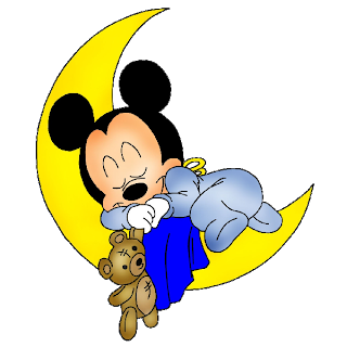 Baby Mickey Mouse Asleep On Yellow Moon With Brown Teddy Mickey Mouse Cartoon Baby Mickey Mouse Baby Mickey