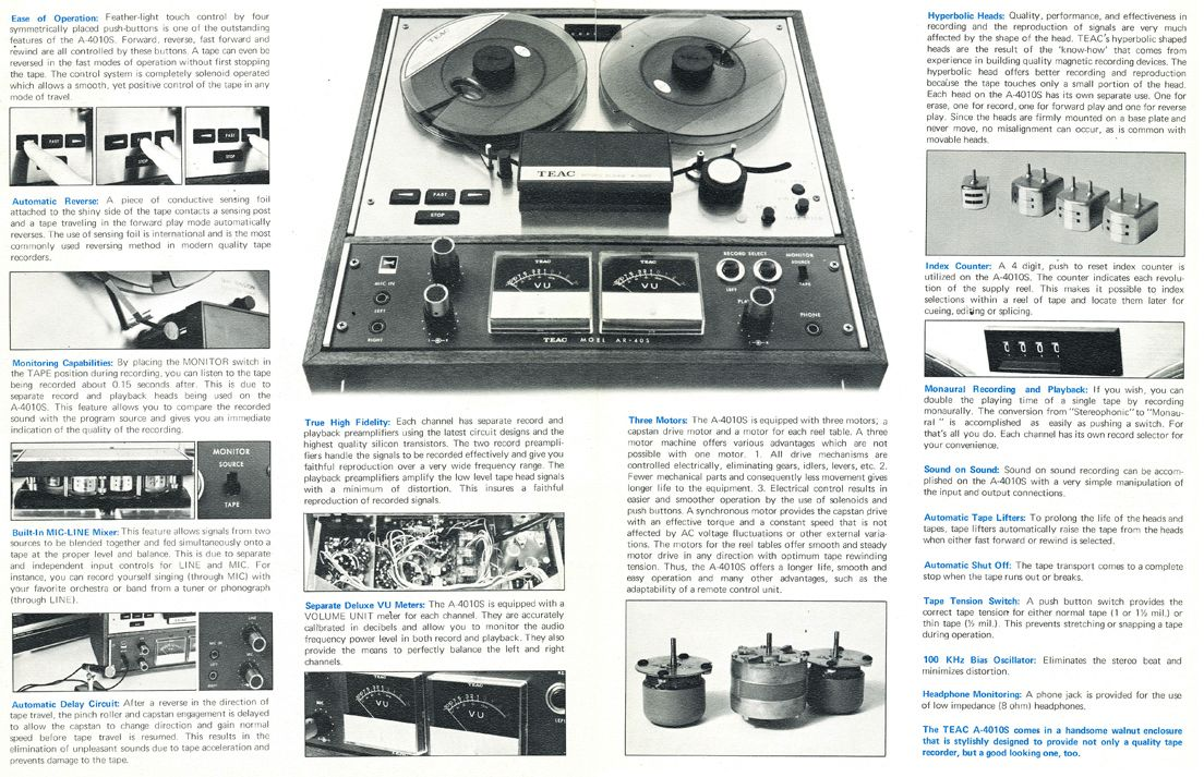 1967 Brochure For The Teac 4010s Reel To Reel Tape Recorder In
