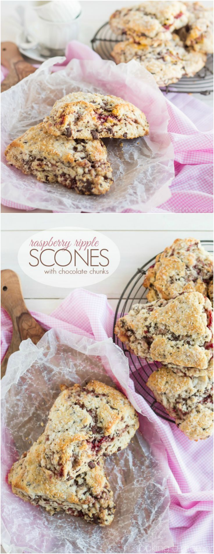 Buttery and tender scones ribboned with raspberry and