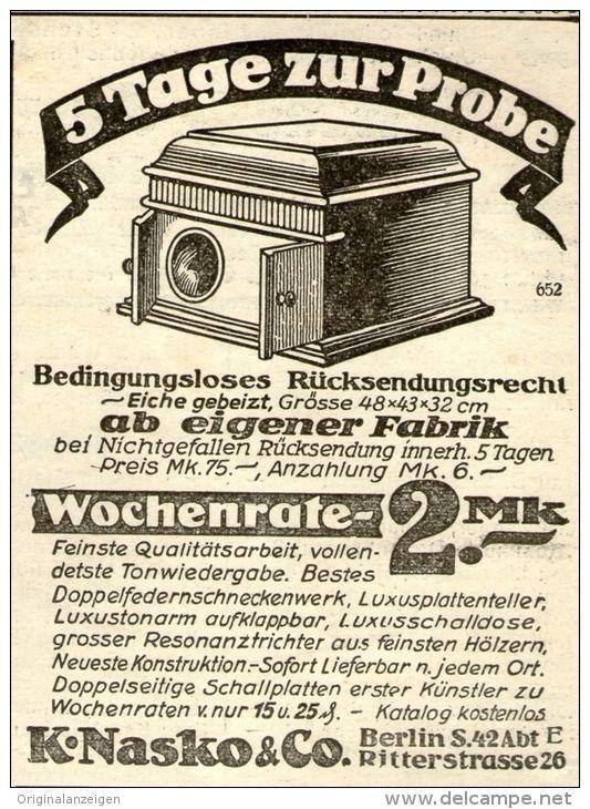 Original-Werbung/ Anzeige 1928 -  GRAMMOPHON / NASKO BERLIN - ca. 70 x  90 mm