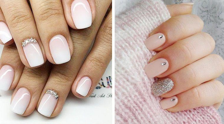 Unghie semplici ma belle, due proposte con smalto di colore chiaro,  decorazioni con brillantini