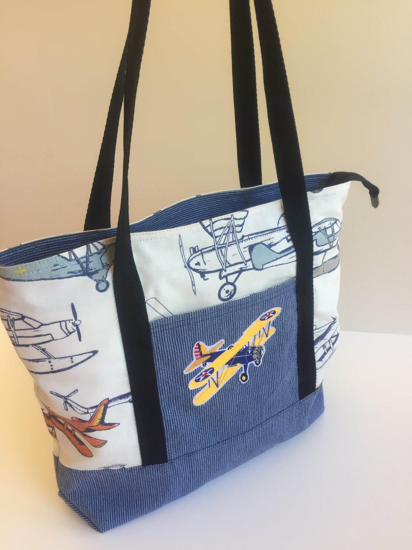 Flying Stearman Tote Bag. 3 internal pockets plus recessed