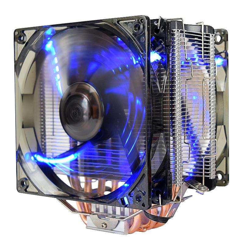 Pccooler 12v X6 4 Pin Double Blue Led Copper Cpu Cooler Cooling Fan For Amd Am4 Intel Lga 775 Pin Amd Double Led 12v Pccooler Blue Cooling Fan Lga Amd