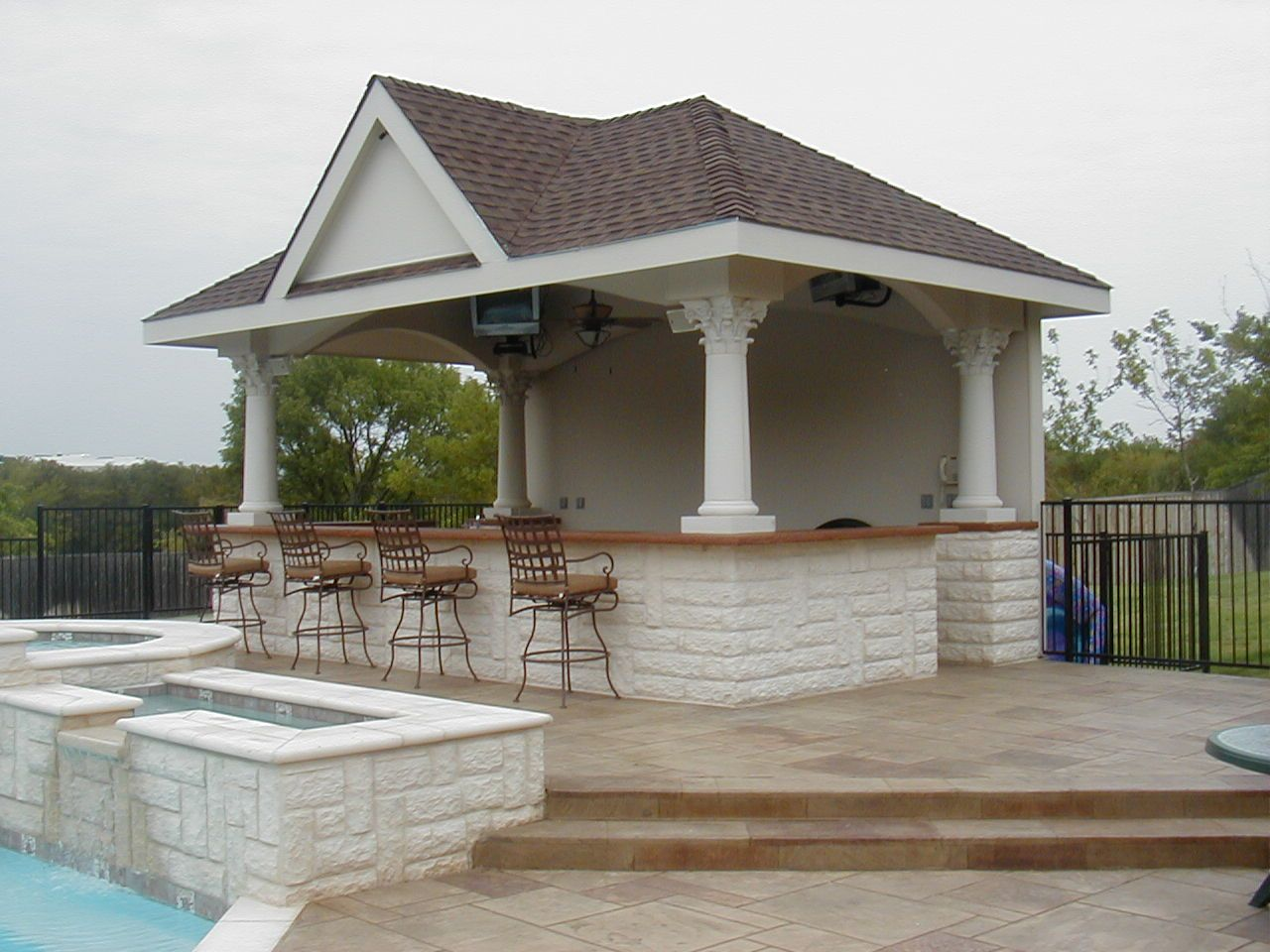Attached poolhouse welcome to wayray the ultimate for Outdoor cabana designs