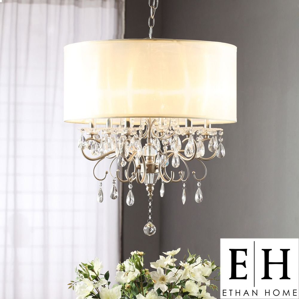 ETHAN HOME Silver Mist Hanging Crystal Drum Shade Chandelier