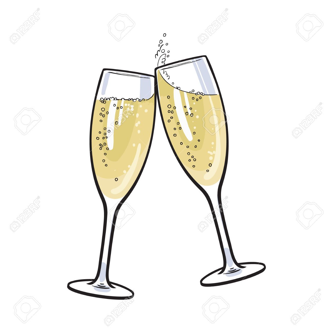 Pair Of Champagne Glasses Set Of Sketch Style Vector Illustration Champagne Glasses Wine Glass Images Champagne