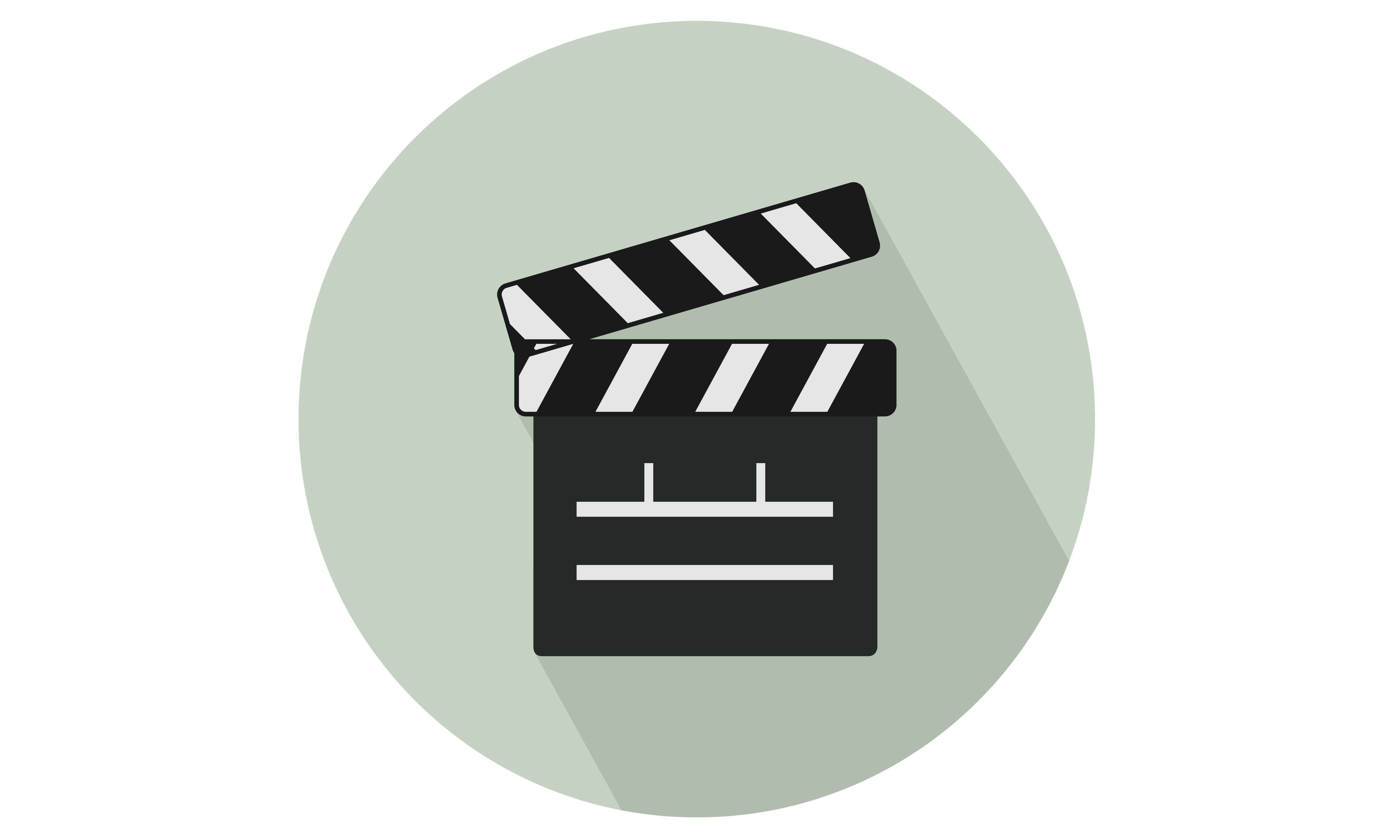 Cinema Clapperboard Vector Icon with background and shadow