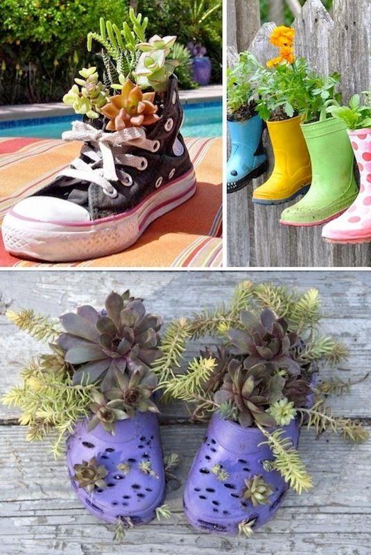 20 Ide Kreatif Pot Bunga Dan Tanaman Hias Dari Barang Bekas 2014