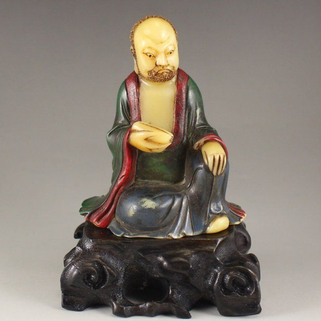 Vintage Chinese Colored Soapstone Arhat Statue 中國清代 皂石羅漢雕像