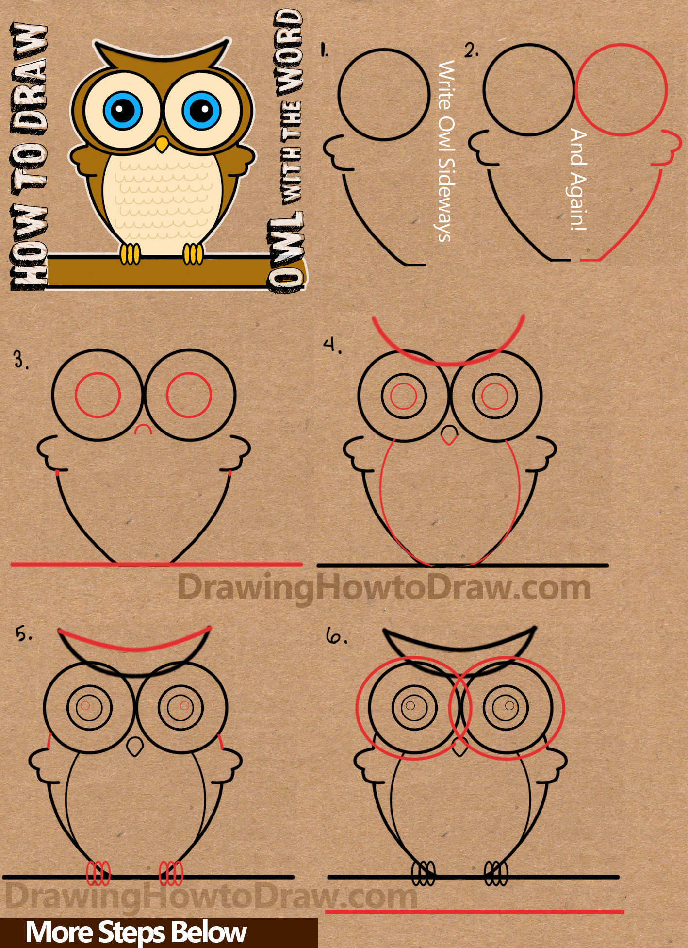 Draw cartoon owls from the word owl simple step by step for Steps to draw an owl