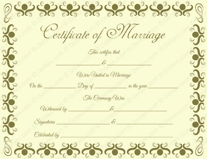 Round Grill Border Marriage Certificate Template  Printable