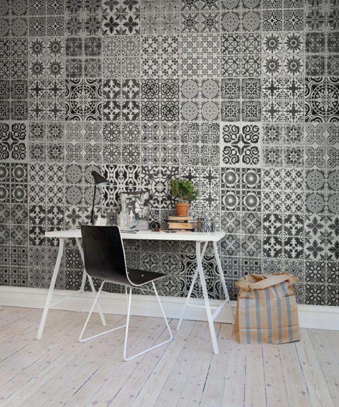 Lieblich Muster Schwarz Weiß Wandgestaltung Mit Farbe Einrichtungsbeispiele Schwarz  Weiß Wohnzimmer Einrichten Fliesen