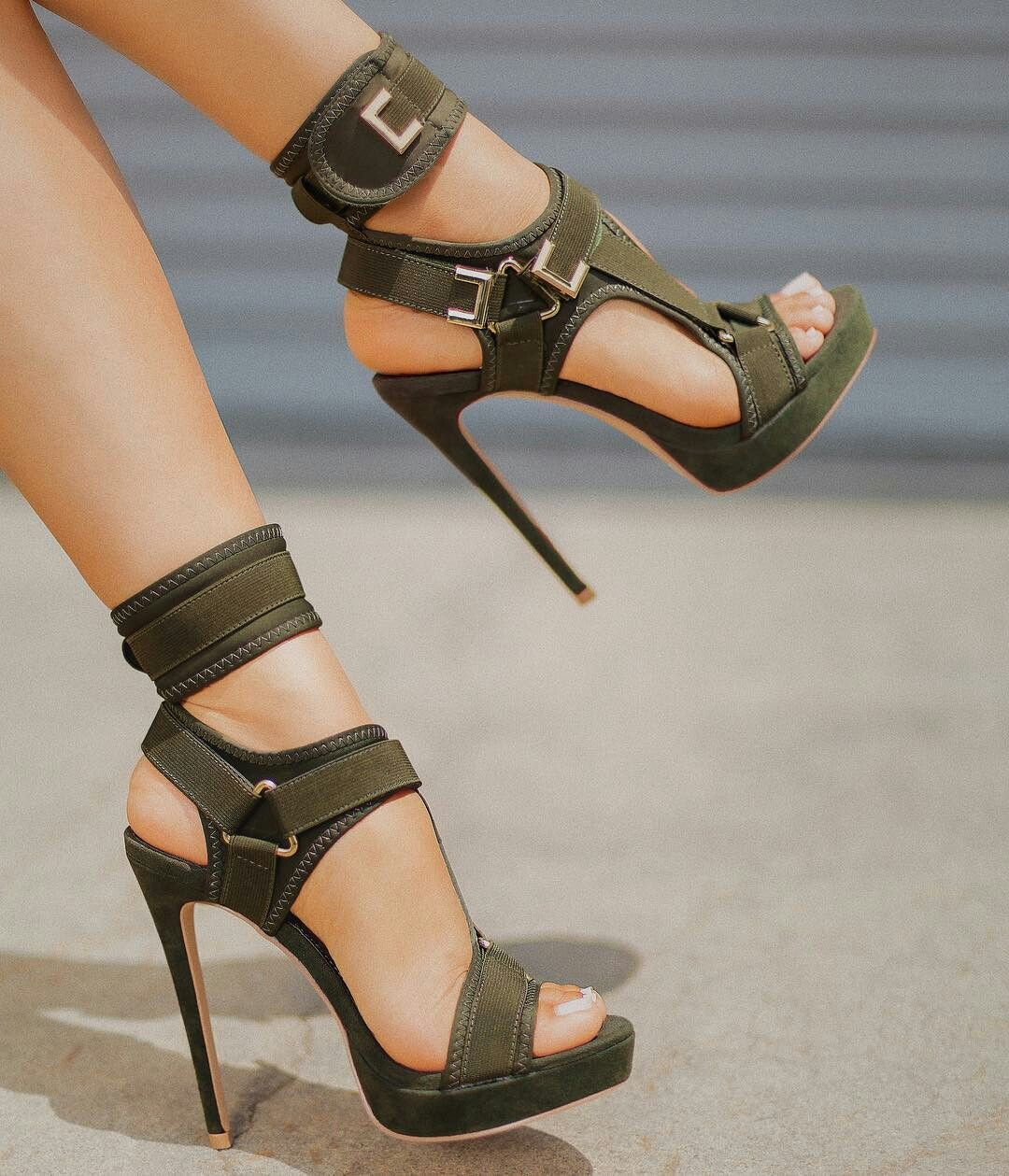 6b8c3f8ef8b Study Glam Military Green Heels  Sully