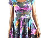 UV Glow Galaxy Print  Cap Sleeve Fit and Flare Skater Skate Dress Rave Festival Clubwear -E7846