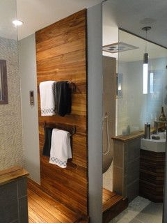 Timber Feature Wall Accent Strip Natural Wood Teak Bathroom Bathroom Feature Wall Timber Feature Wall
