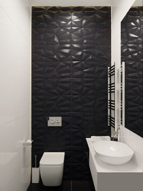 Bathroom Feature Wall 3 Dimensional In Black Northern Rivers Bathroom Renovations Bathroo Bathroom Interior Design Bathroom Feature Wall Bathroom Interior